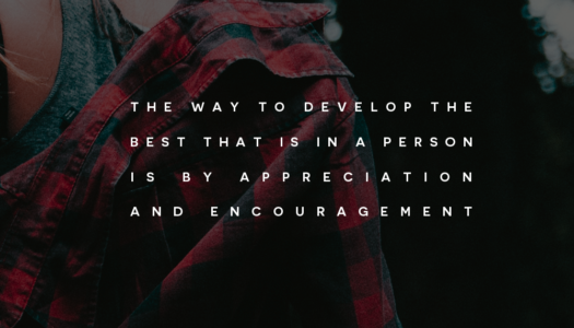 The way to develop the best that is in a person is by appreciation and encouragement