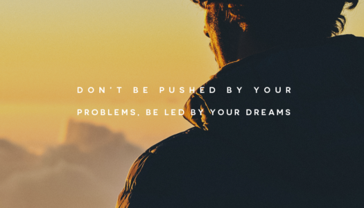 Don't be pushed by your problems, be led by your dreams.