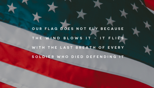 Our Flag does not fly because the wind blows it; It flies with the last breath of Every Soldier who died defending it.