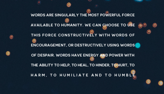 Words are singularly the most powerful force available to humanity
