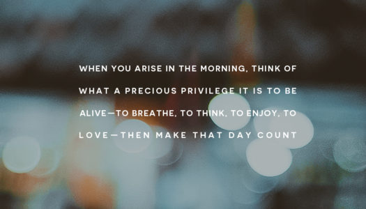 When you arise in the morning, think of what a precious privilege it is to be alive—to breathe, to think, to enjoy, to love—then make that day count!