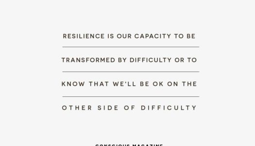 Resilience is our capacity to be transformed by difficulty or to know that we'll be OK on the other side of difficulty.