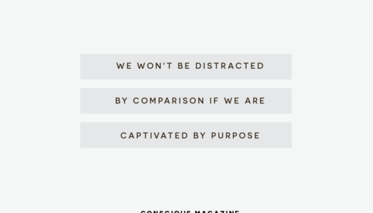 We won't be distracted by comparison if we're captivated by purpose.